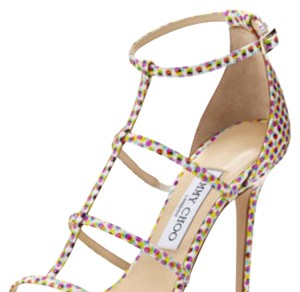 e0c7b136e614 Jimmy Choo Strappy Pink Special Edition Sandals polka dot Pumps