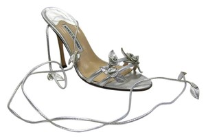 Manolo Blahnik Strappy Silver Formal