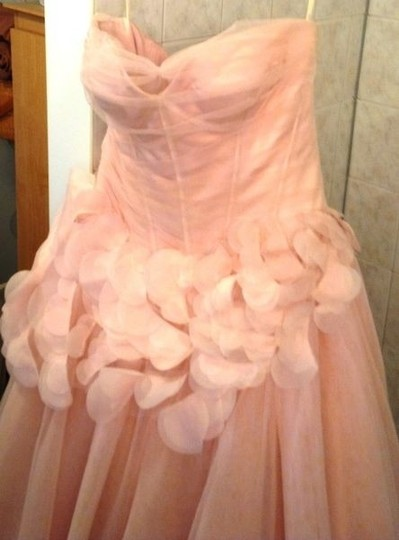 Vera Wang Blush Pink Satin Corset Bodice with Draped Tulle Overlay and Fu Matching Shoes Formal Wedding Dress Size 8 (M)