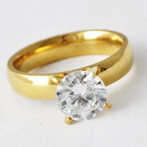 Gold Plated Stainless Steel Engagement Ring Free Shipping