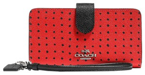 Coach Phone Wallet Wristlet in Red, black, silver