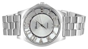 Geneva Platinum Geneva Watch Platinum Simulated Diamond Index Mark 41mm Stainless Steel Back