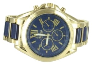 Geneva Platinum Navy Blue Dial Watch Gold Tone Geneva Mens Womens Water Resist Roman Numeral