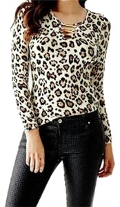 Guess Bodycon Leopard V-neck Gold Hardware Top Animal Print