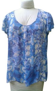 Banana Republic Watery Sheer Shortsleeve Top Blues