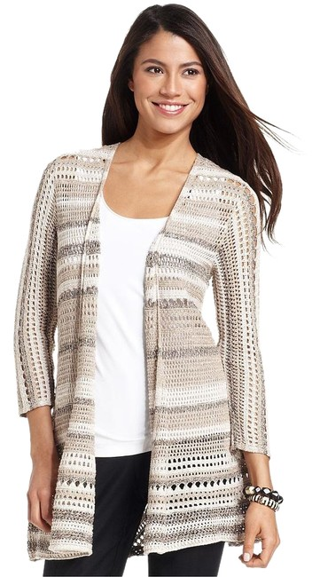 Preload https://img-static.tradesy.com/item/18289747/style-and-co-neutral-striped-pointelle-medium-cardigan-size-8-m-0-1-650-650.jpg