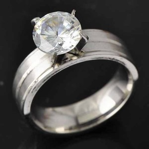 Comfort Fit Stainless Steel Gemstone Engagement Ring Free Shipping