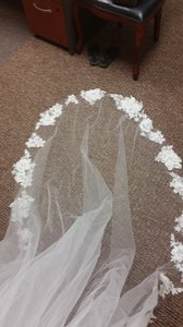 Melissa Sweet One Tier 3d Floral Edge Cathedral Veil