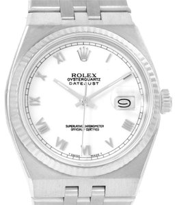 Rolex Rolex Oysterquartz Datejust Stainless Steel 18K White Gold Watch 17014