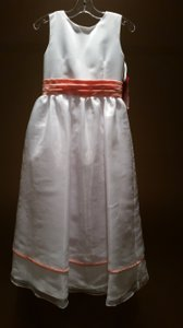 Jordan Size 8 White/ Apricot Flower Girl Dress
