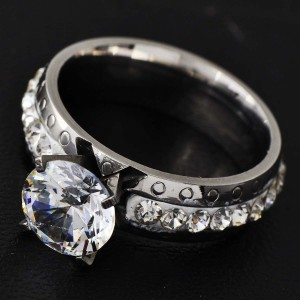 Silver Bogo Free Stainless White Topaz Free Shipping Engagement Ring