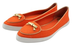 Tory Burch Dakota Canvas Gold Boat Dock Orange Flats