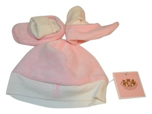 Juicy Couture Juicy Couture Pink Velour Logo Hat and Bootie Set-Brand New with Tags