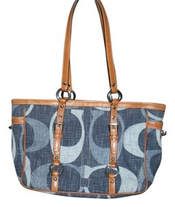 Coach Zippered Top Closure 3 Interior Pockets Inside Zipper Pocket 2 Side Pocket Tote in Blue Denim