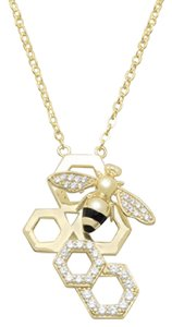 Other (New) 14 Karat Gold Plated and Signity CZ Bee Necklace