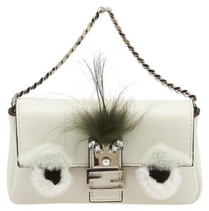 Fendi Face Lambskin Leather Fur Cross Body Bag