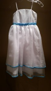 Forever Yours Size 4 White/ Blue Topaz Flower Girl Dress