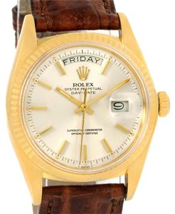 Rolex Rolex 18k Yellow Gold President Day-Date Brown Strap Mens Watch 1803
