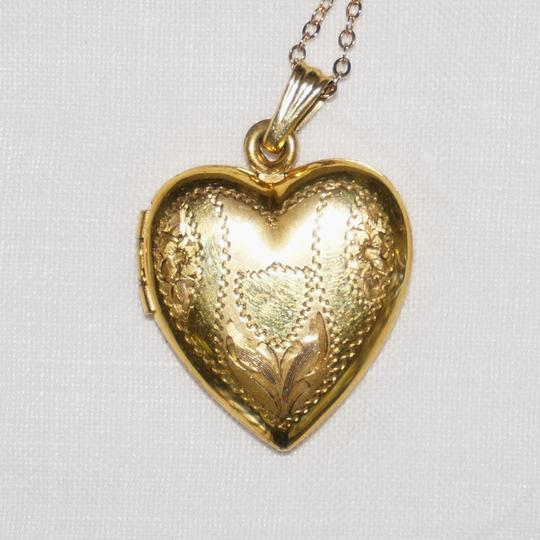 Other Antique Victorian LIBERTY Gold Filled Flower Bridal Heart Locket Necklace Sweetheart