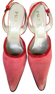 Prada Red Velvet and Pink Suede Pumps