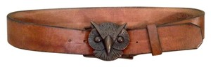Leathersmith Sz 28, S/M Cognac Leather and Brass Owl Handmade Belt