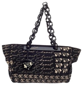 Chanel Canvas Summer Black And White Tote