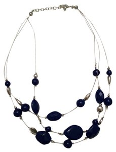 Other Silver and Navy Blue Necklace