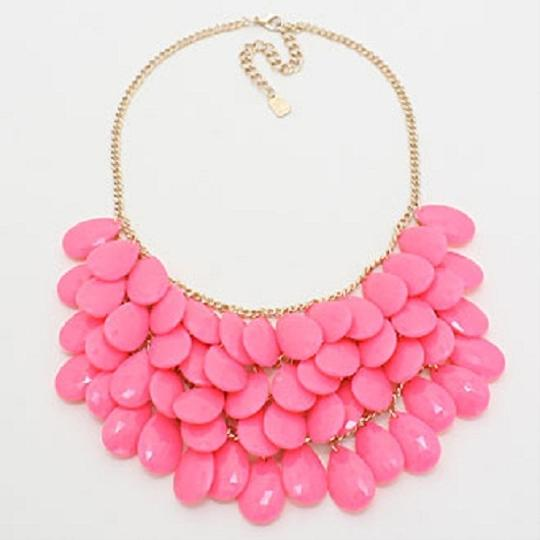 Other Candy Fuchsia Pink Briolette Cluster Bib Collar Necklace Earring Set