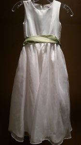 White 6 Flower Girl Dress with Olive Green Sash