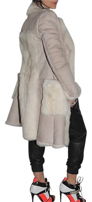 Item - Cream Suede Leather Shearling Coat Size 4 (S)