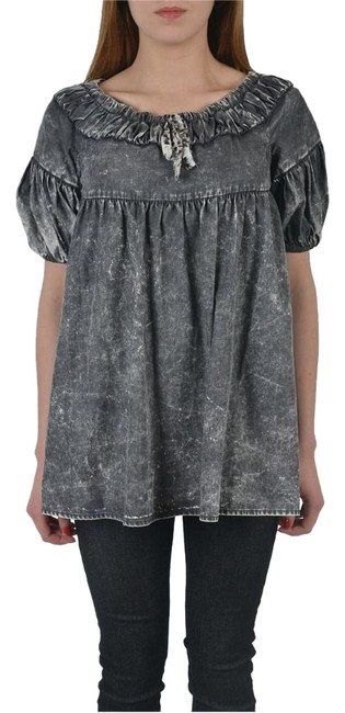 Preload https://img-static.tradesy.com/item/18292396/just-cavalli-gray-short-sleeves-women-s-denim-blouse-size-4-s-0-1-650-650.jpg