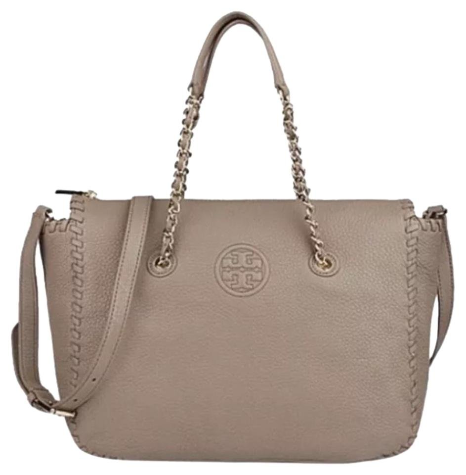14d149f957a Tory Burch Marion   Tote Chain Shoulder French Grey Leather Satchel ...