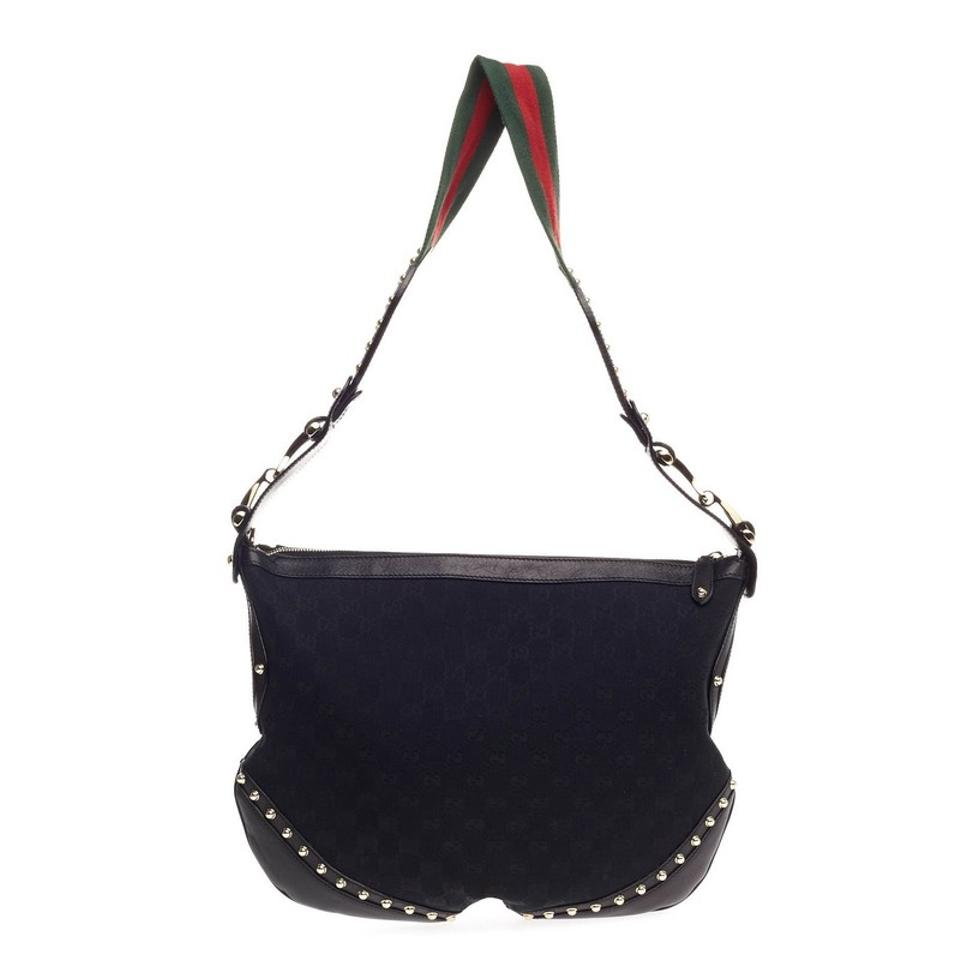 e47338705dfe Gucci Pelham Studded Gg Canvas Medium Leather Hobo Bag - Tradesy