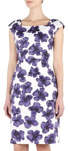 MILLY short dress Purple, White Sheath Floral Print Fitted Bold on Tradesy