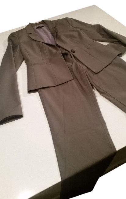 Item - Brown/Taupe/Grey Tropical Wool Poncelet Jacket and Curvy Tropical Wool Straight Leg Pant Suit Size Petite 0 (XXS)