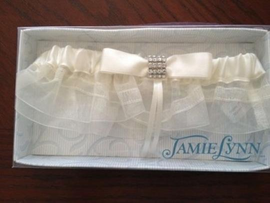 Ivory Bridal Garter with Crystal Details