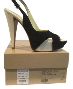 Sergio Rossi Suede Patent Leather Black and white Platforms