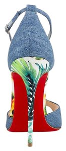 Christian Louboutin Pigalle Open Toe T- Strap Blue Multi Pumps