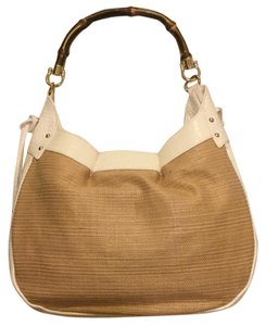 Ann Taylor LOFT Handbag Straw Satchel in Beige / white