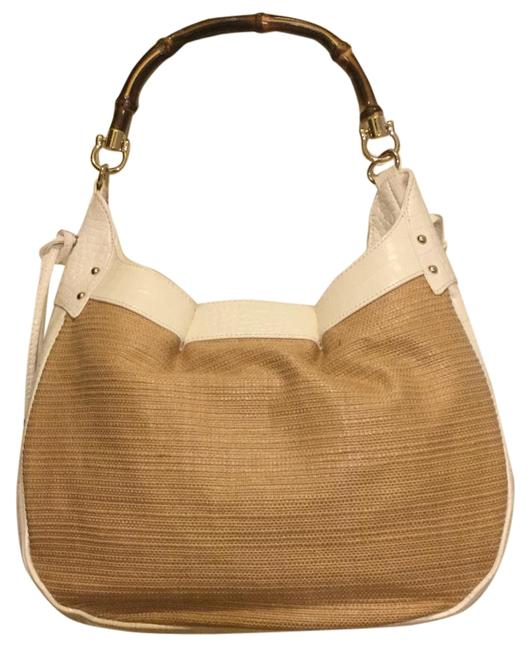 Item - Purse Beige / White Leather Bamboo Straw Satchel