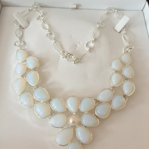 Opal And Pearl Bib Necklace
