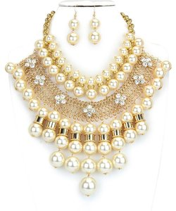 Majectic Pearl Crystal Accent Necklace Earring Set