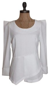 Line & Dot Peplum Structured Top IVORY