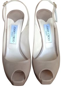 Jimmy Choo Peep Toe Camel Stiletto Slingback Nude Pumps