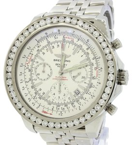 Breitling Breitling Bentley Chronograph A25362 Stainless Steel 5ctw Diamond Bezel Watch Complete with Box Papers
