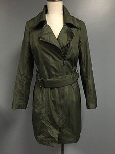 Marc New York Olive Collared Multi Way Zipper Belted Jacket Sma5030 Trench Coat