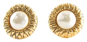 Chanel Vintage Faux Pearl Gold Tone Clip On Earrings