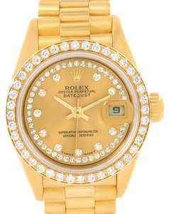 Rolex Rolex President Datejust Yellow Gold String Diamond Ladies Watch 69138