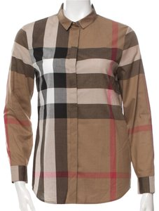 Burberry Nova Check Plaid Monogram Button Down Shirt Beige, Brown, Black