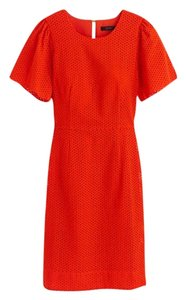 J.Crew short dress Bold Red Eyelet 6t Flutter Sleeve on Tradesy